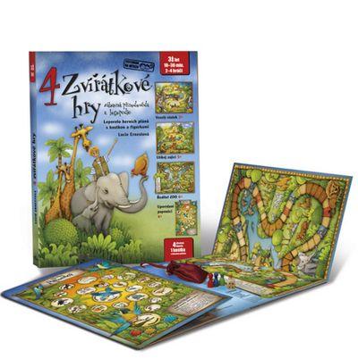 4 zvířátkové hry: Leporelo s kostkou a figurkami - Lucie Ernestová [kniha]